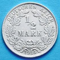 Германия 1/2 марки 1914 г. Серебро А