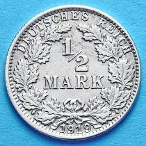 Германия 1/2 марки 1919 г. Серебро А
