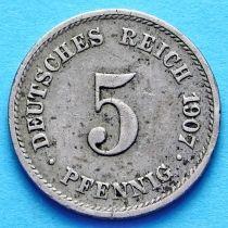 Германия 5 пфеннигов 1907 год. Монетный двор G.
