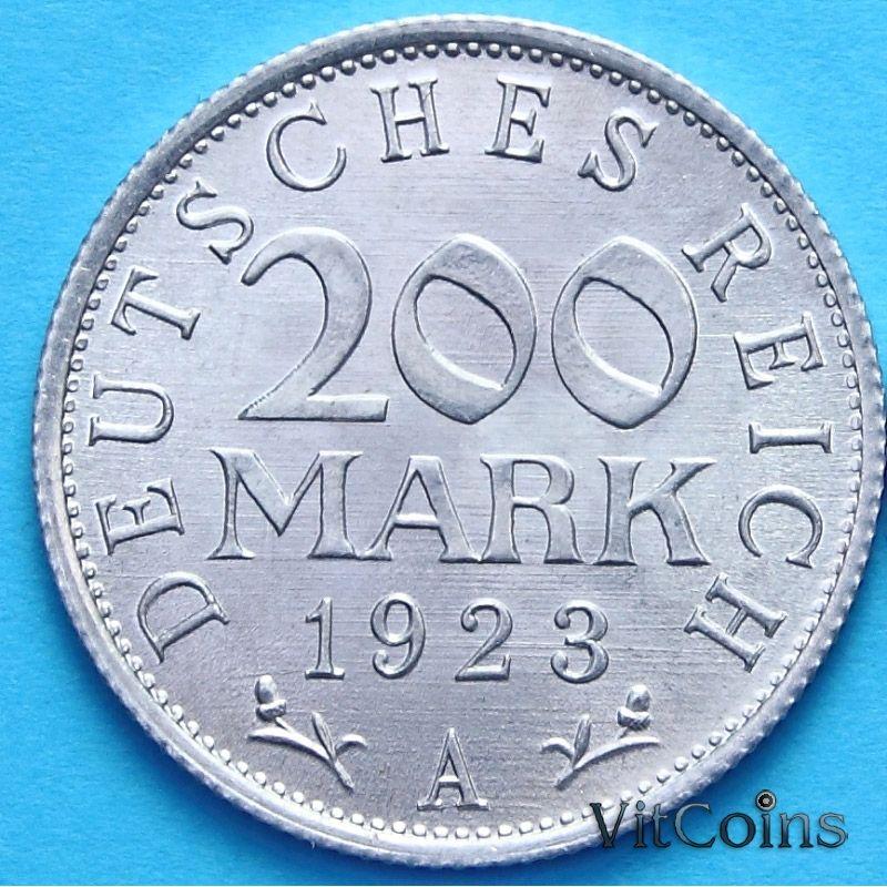 Монета Германии 200 марок 1923 год. А