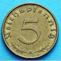 Германия 5 рейхспфеннигов 1937 год. А