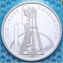 ФРГ 10 марок 1997 год. D. Дизельный двигатель. Серебро. Пруф.