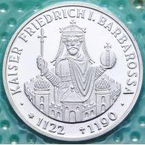 ФРГ 10 марок 1990 год. F. Фридрих I Барбаросса. Серебро. Пруф