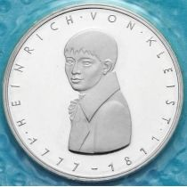 ФРГ 5 марок 1977 год. Генрих фон Клейст. Серебро. Пруф