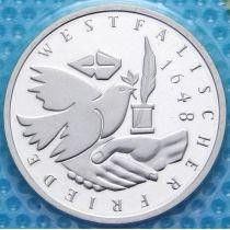 ФРГ 10 марок 1998 год. J. Вестфальский Договор. Серебро. Пруф. Банковская запайка