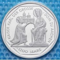 ФРГ 10 марок 2000 год. J. Карл Великий. Серебро. В запайке.