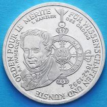 ФРГ 10 марок 1992 год. Орден Pour-le-Merite. D. Серебро.