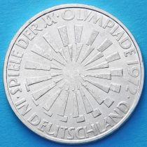 ФРГ 10 марок 1972 год. Олимпиада, эмблема. J. Серебро