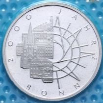 ФРГ 10 марок 1989 год. 2000 лет городу Бонн. D. Серебро. Пруф