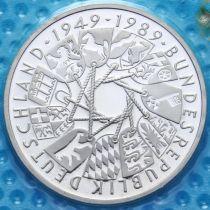 ФРГ 10 марок 1989 год. G. 40 лет ФРГ. Серебро. Пруф. Запайка.