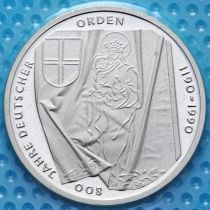 ФРГ 10 марок 1990 год. J. Тевтонский орден. Серебро. В запайке.