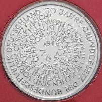 ФРГ 10 марок 1999 год. F. Конституция. Серебро. Пруф.