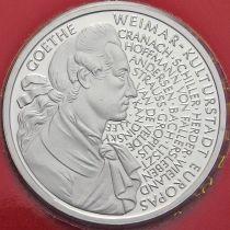 ФРГ 10 марок 1999 год. D. Иоганн Вольфганг фон Гёте. Серебро. Пруф.