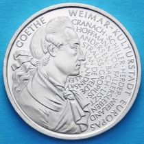 ФРГ 10 марок 1999 год. F. Иоганн Вольфганг фон Гёте. Серебро.