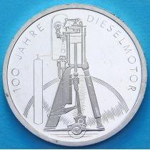 ФРГ 10 марок 1997 год. Дизель. F. Серебро. Пруф.