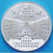 ФРГ 10 марок 1998 год. Фонд Франке. А. Серебро.