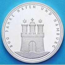 ФРГ 10 марок 1989 год. J. Порт Гамбурга. Серебро. Пруф.
