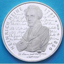 ФРГ 10 марок 1997 год. D. Генрих Гейне. Серебро. Пруф.