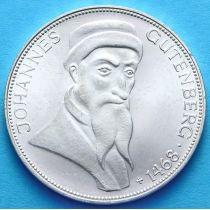 ФРГ 5 марок 1968 год. Иоганн Гутенберг. Серебро