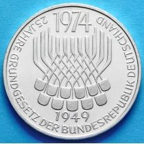 ФРГ 5 марок 1974 год. Конституция. Серебро
