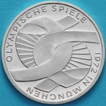 ФРГ 10 марок 1972 год. G. Олимпиада, узел. Серебро. Пруф.