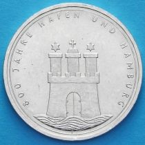 ФРГ 10 марок 1989 год. J. Порт Гамбурга. Серебро.