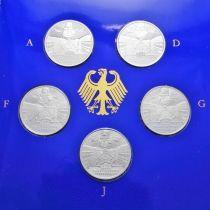 ФРГ набор 5 монет 1998 год. Фонд Франке. Серебро. Пруф.