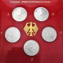 ФРГ набор 5 монет 1999 год. Гёте. Серебро. Пруф.