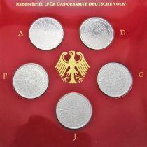 ФРГ набор 5 монет 1999 год. Конституция. Серебро. Пруф.
