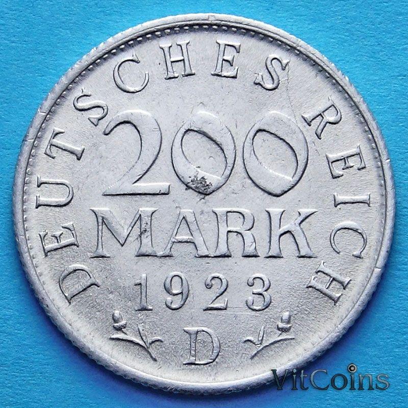 Монета Германии 200 марок 1923 год. D.