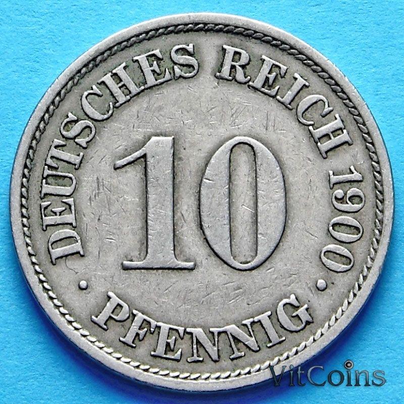 Монета Германии 10 пфеннигов 1890-1916 год. А
