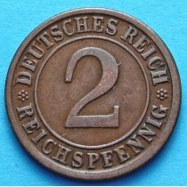 Германия 2 рейхспфеннига 1924-1925 год. А