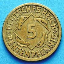 Германия 5 рентенпфеннигов 1923-1924 год.