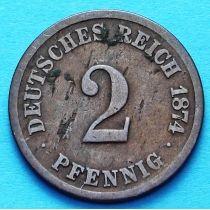 Германия 2 пфеннига 1874 год. А