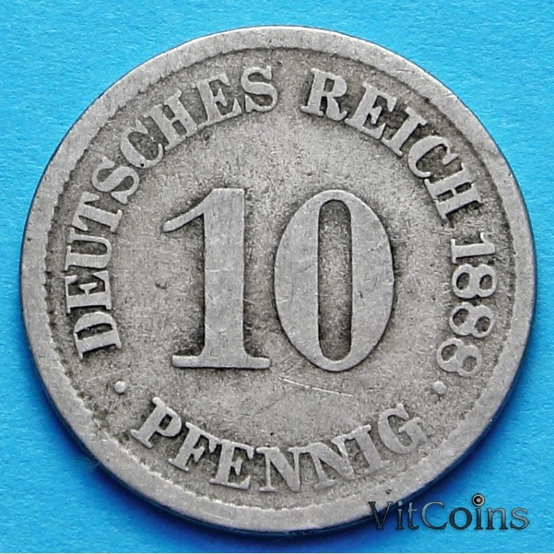 Монета Германии 10 пфеннигов 1874-8989 год.