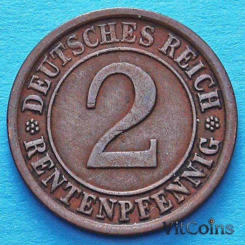 Монета Германия 2 рентенпфеннига 1924 год.