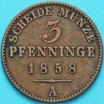Пруссия 3 пфеннига 1858 год.