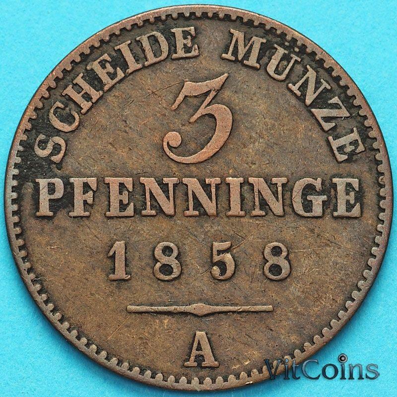 Монета Пруссия 3 пфеннига 1858 год.