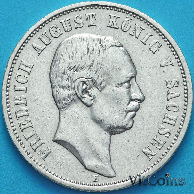 Монета Германия, Саксония 3 марки 1909 год. Серебро.
