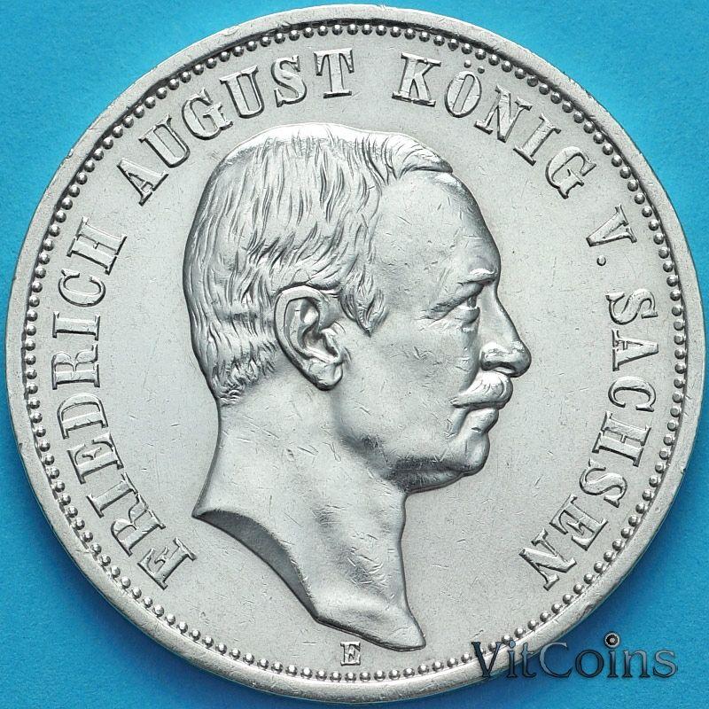 Монета Германия, Саксония 3 марки 1910 год. Серебро.