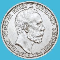 Шварцбург-Зондерсхаузен, Германия  3 марки 1909 год. Смерть Карла Гюнтера. Серебро.