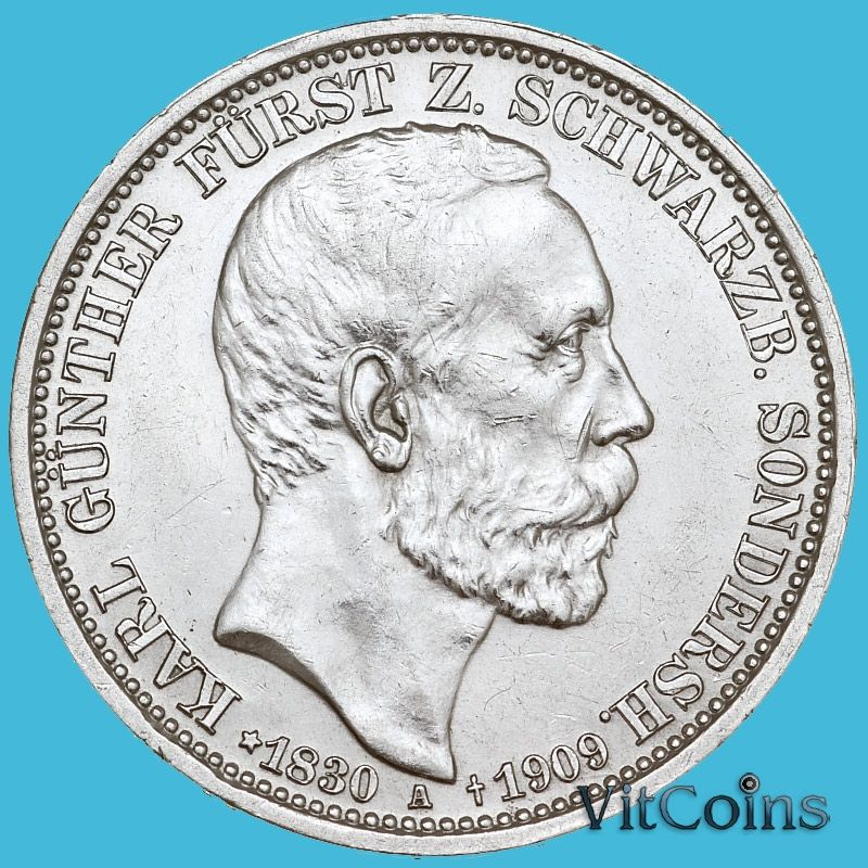 Монета Шварцбург-Зондерсхаузен, Германия  3 марки 1909 год. Смерть Карла Гюнтера. Серебро.