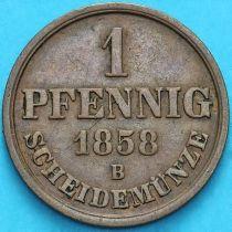 Ганновер, Германия 1 пфенниг 1858 год. В.