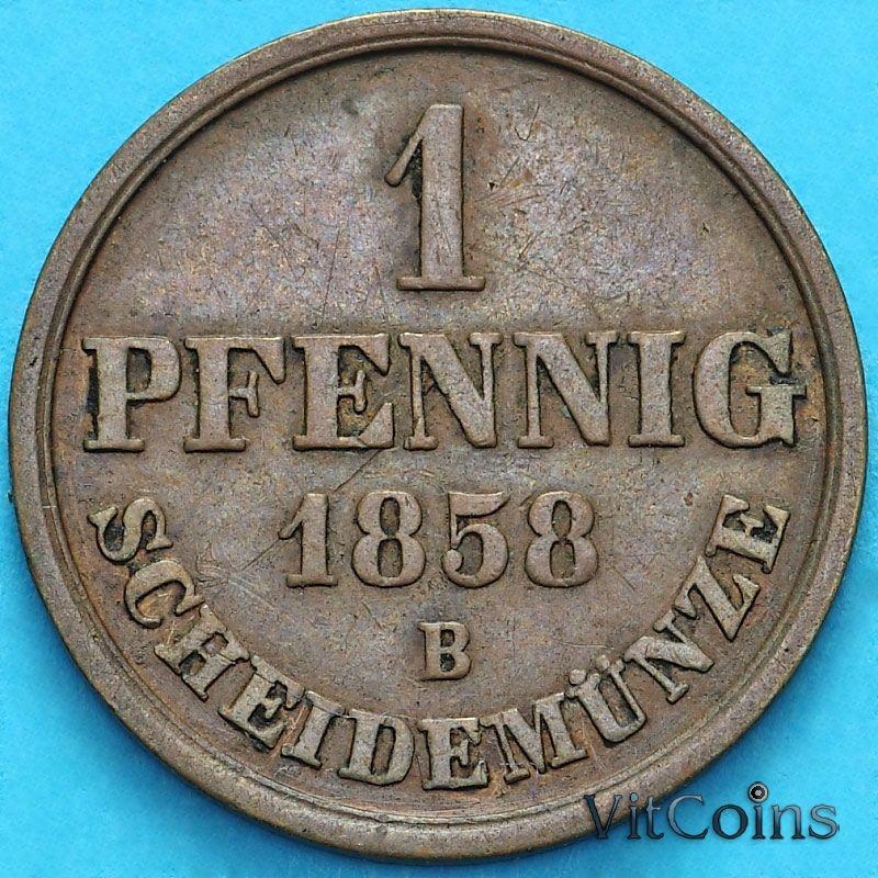 Монета Ганновер 1 пфенниг 1858 год. В.