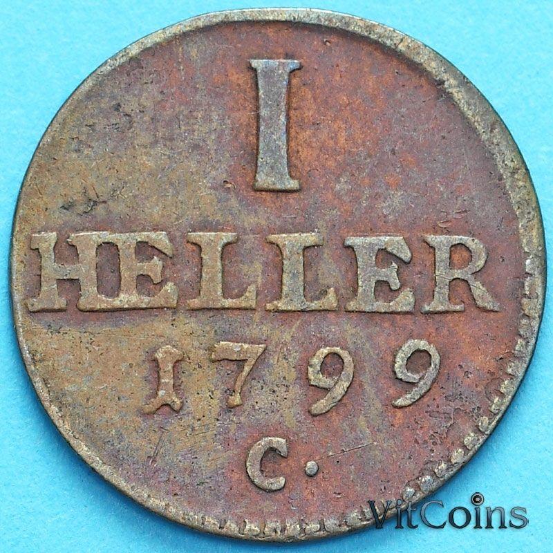 Монета Саксония 1 геллер 1799 год. С