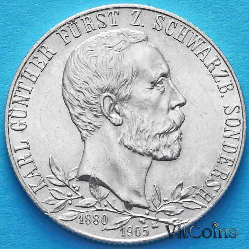 Монета Германии 2 марки 1905 год. Серебро.