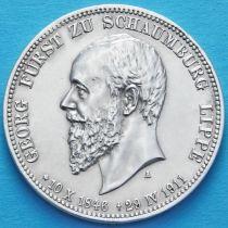 Шаумбург-Липпе, Германия 3 марки 1911 год. Серебро.