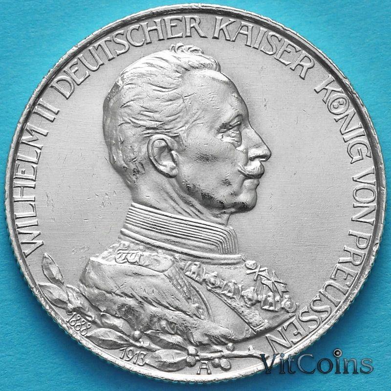Монета Пруссия, 2 марки 1913 год. 25 лет правлению Вильгельма II . Серебро.