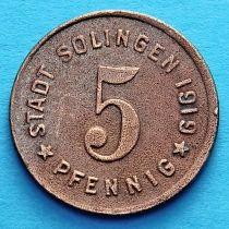 Германия 5 пфеннигов 1919 год. Нотгельд Золинген.