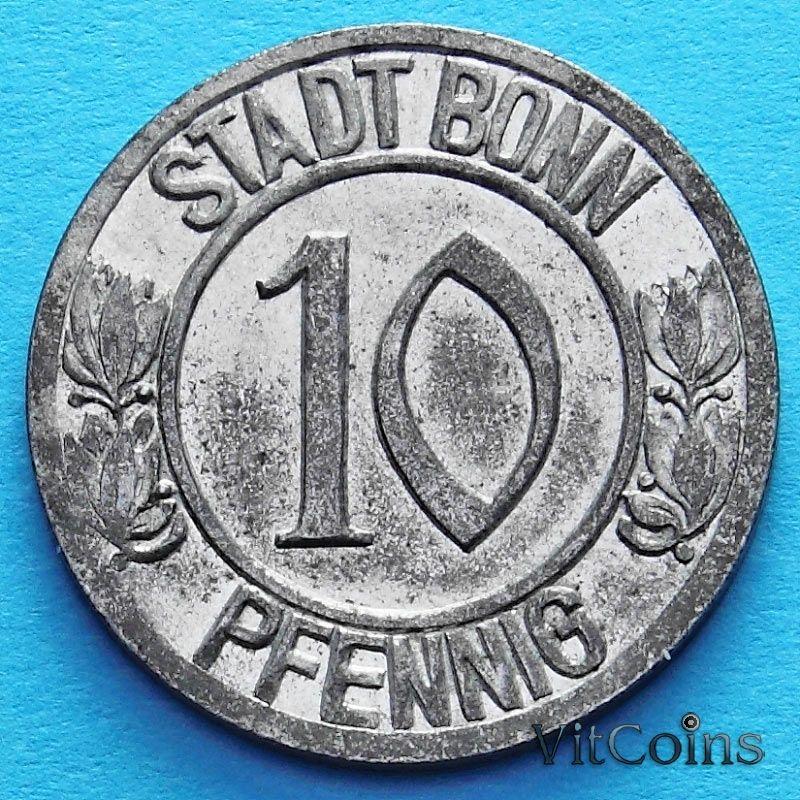 Монета Германии 10 пфеннигов 1920 год. Нотгельд Бонн.